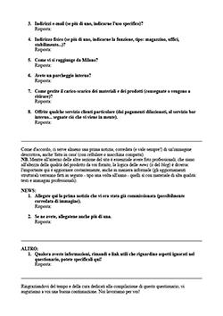 questionario aziendale per informazioni sito internet